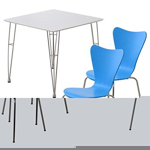 カジュアル&モダン デザイナーズダイニングセット[テーブル/ホワイト・チェア2脚/ブルー・3点セット](テーブル・チェア2脚)