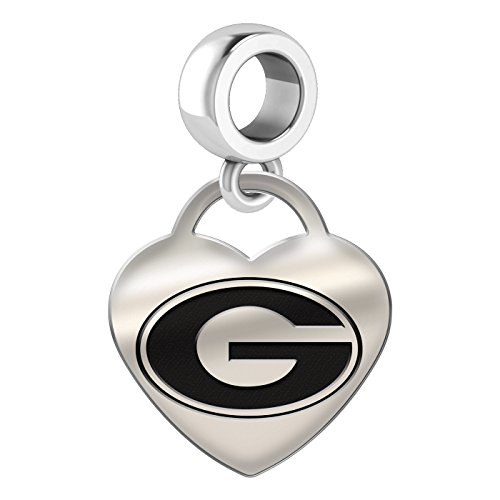 Georgia Bulldogs Heart Dangle Charm Fits All European Style Bead Charm Bracelets