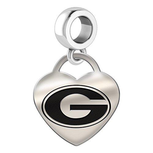 Georgia Bulldogs Heart Dangle Charm Fits All European Style Bead Charm Bracelets