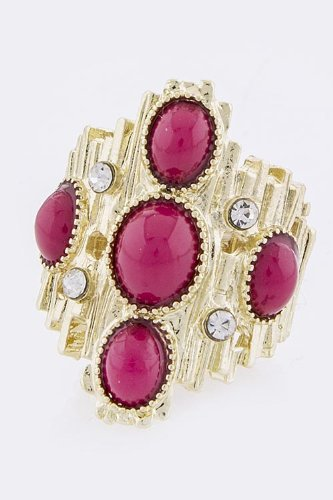 Trendy Fashion Jewelry Beaded Metal Ring By Fashion Destination | (Fuchsia)