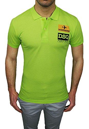 Maglia polo uomo Dsquared 2 verde maniche corte casual shirt 100% cotone (S)