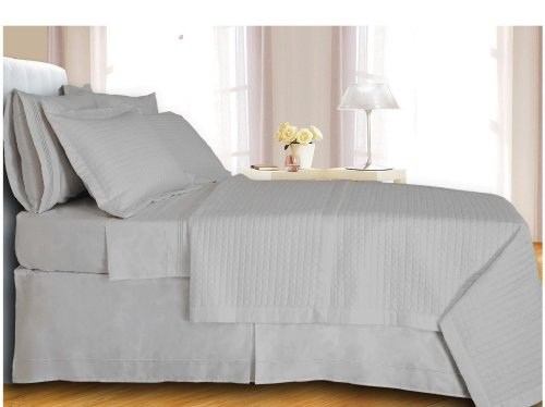 Egyptian Cotton 400 Thread Count Reversible Coverlet Set 3 PC King/Cal King (White)