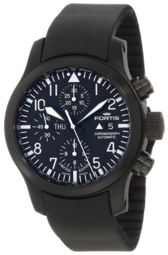 Fortis Men's 656.18.81K B-42 Flieger Automatic Chronograph Black Dial Watch
