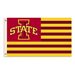 Buy NCAA Iowa State Cyclones 3-by-5 Foot Flag Logo with Stripes with Grommets by BSI