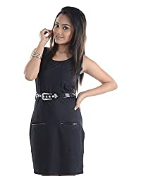VeaKupia Women's Asymmetric Regular Fit Dress (Black, 34)