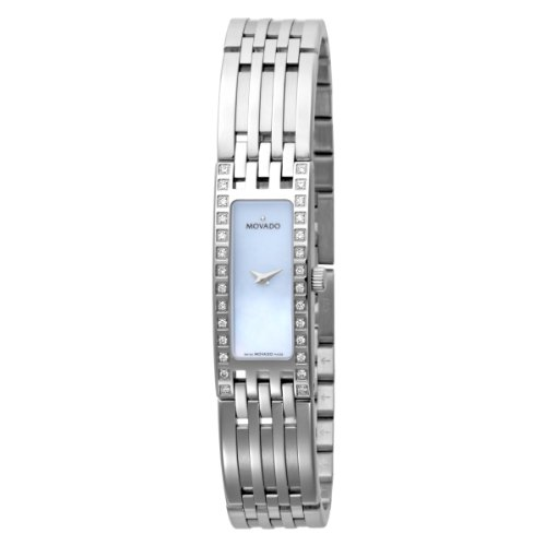 MOVADO Watch:Movado Women's 606302 Esperanza Baguette Stainless-Steel Bracelet Blue Mother-of-Pearl Dial Watch Images