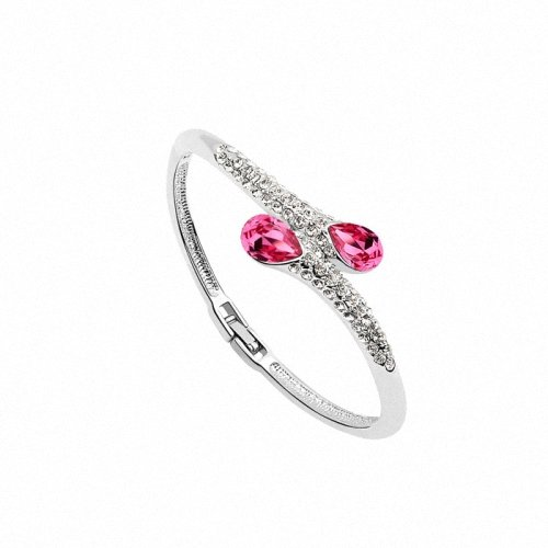 TAOTAOHAS- [ Search Name: Deep into Heart ] (1PC) Crystallized Swarovski Elements Austria Crystal Bangle Bracelet, Made of Alloy Plated with 18K True Platinum / White Gold and Czech Rhinestone