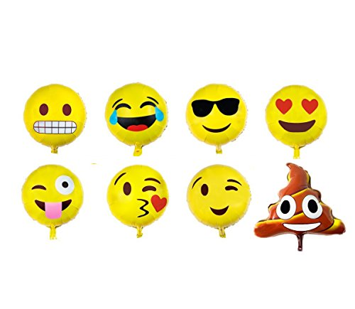 Emoji Balloon Happy Birthday Party - Set of 16 Pack Mylar Foil 18 Inch Helium Reusable Ballons For Congratulation Decoration Anniversary Festival Graduation Bouquet Gift Idea Engagement Celebration (Missile Balloons For Your Car compare prices)