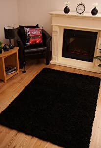 Luxury Super Soft Black Shaggy Rug 7 Sizes Available from Modern Style Rugs
