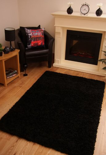 LUXURY SUPER SOFT BLACK SHAGGY RUG 7 SIZES AVAILABLE 180cmx270cm (5ft11