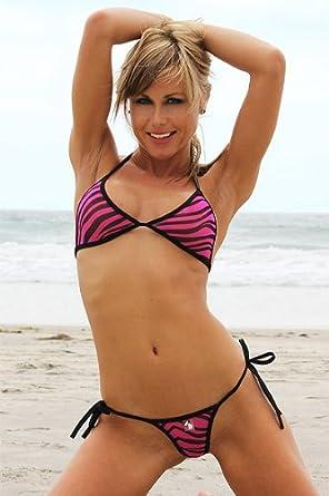 Connected Top & Micro G-string Tie Thong Bikini (Pink Zebra Mesh) Lined Top: L \ Bottom: L bikini