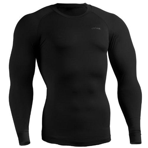 emFraa Men Women Skin Tight Base layer T Shirt Running Top Black Long sleeve S ~ 2XL