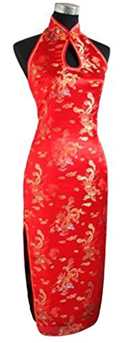 Merryfun Women's Halter Dress Cheongsam Chineses Dress Qipao,Red S