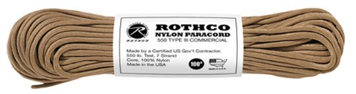 Rothco Type III 550-Pound Commercial Paracord (Tan, 100-Feet)