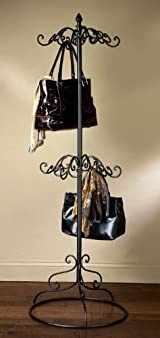 2 Tier Black Metal Purse Scarf Display Tree Rack