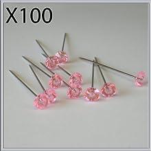 1 x 100 rosa con brillantes de cristal diamonte pines 3,81 cm ojales bodas
