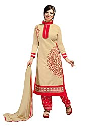 SR Women's Cotton Unstitched Dress Material (Chiku Top Red Bottom Seded Duptta)