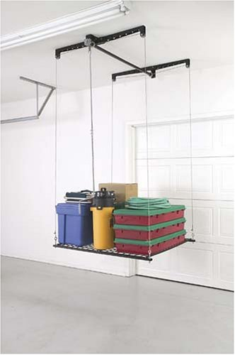 Racor heavy duty cable lift storage rack overhead ceiling for Rack rangement garage