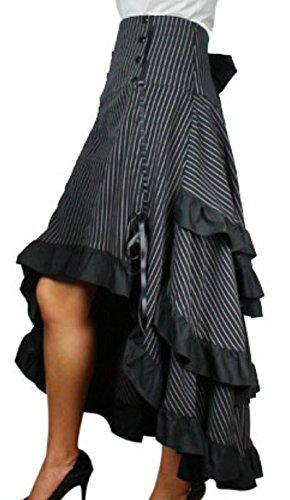Burlesque-Blaze-Black-White-Pinstripe-Gathered-Steampunk-Vintage-Style-Skirt