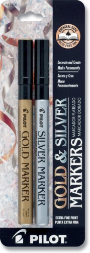 Pilot Gold and Silver Permanent Marker, Extra Fine Point, Set of 2 Markers (41400)