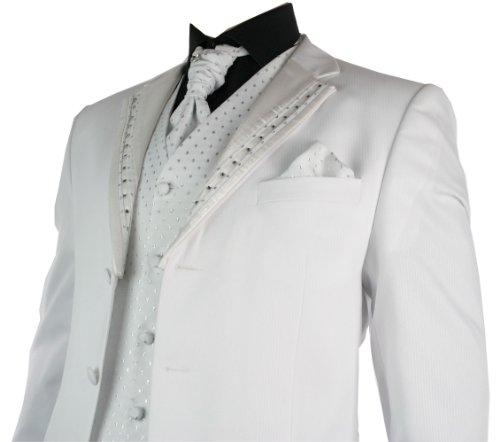 Mens Wedding Party Suit White Silver Striped Design Waistcoat, Crovat & Handkerchief