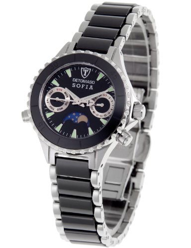Detomaso Ladies Quartz Watch with Black Dial Analogue Display and Black Ceramic Bracelet DT3001-B