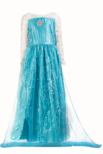 HBB New Girl Snow Princess Elsa Dress Costume with Long Cape, SZ 4-12 Blue