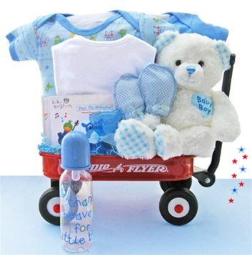 All Boy Wagon Baby Shower Gift Basket for NewbornsAll Boy Wagon Baby Shower Gift Basket for Newborns