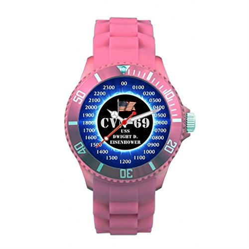 Lgtbg Plastic Band Watches Base Pink USS Dwight D. Eisenhower CVN-69 (Uss Dwight D Eisenhower compare prices)