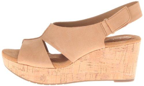 Clarks Women's Caslynn Lizzie Wedge Sandal,Beige,11 W US