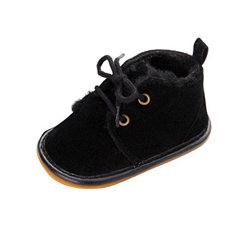 Kingko® Bambino del bambino pattini infantili neve stivali Shoes suola in gomma Prewalker pattini della greppia inverno Stivali (6~12 mesi, Nero)