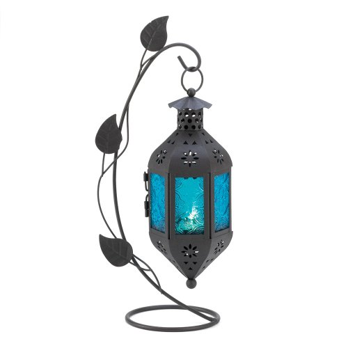 Gifts & Decor Sapphire Bloom Candle Lantern Stand, Iron and Glass