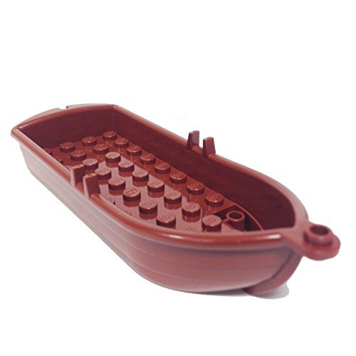 Lego Parts: Boat, 14 x 5 x 2 with Oarlocks (Reddish Brown) - 1