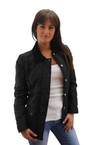 Girl Talk Ladies Quilted Padded Jacket striped lining