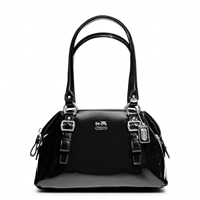 Coach Madison Patent Leather Small Bag Purse Handbag, Style 48468, Black
