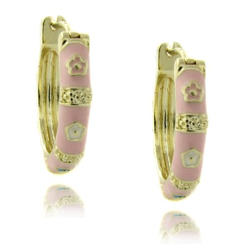 Lily Nily 18k Gold Overlay Pink Enamel Flower Design Children's Hoop Earrings