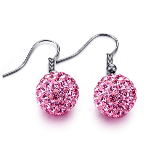 Shamballa Disco Ball Drop Earrings French Hook Hot Pink for Pierced Ears 12mm Diameter Decorative Ball
