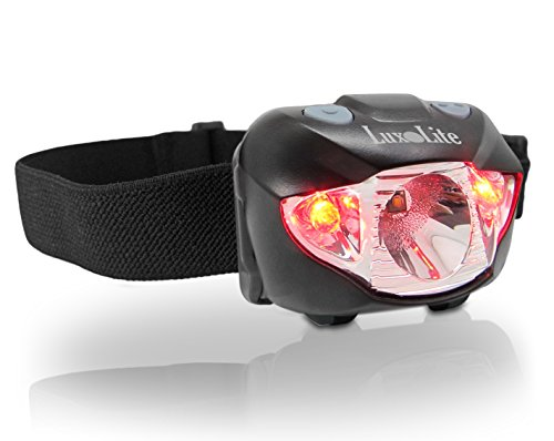 LuxoLite CREE LED Headlamp - Super Bright Lumens Head Flashlight w/ RED Light for Running, Hiking, Fishing, Camping, Reading - Waterproof Lamp, Easy Fit Headband, BEST Headlight Headlamps - GREAT Gift