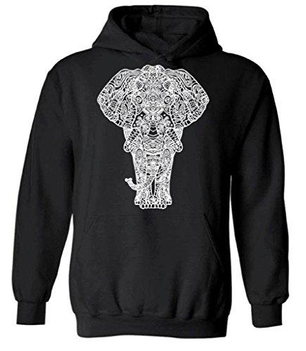 icustomworld Elephant Full Body White Hoodie Indian Art Work Hooded Sweatshirt M Black