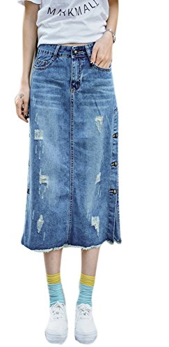 Enlishop Women's High Waist Pocket Side Bottom A Line Denim Skirts Dress Blue