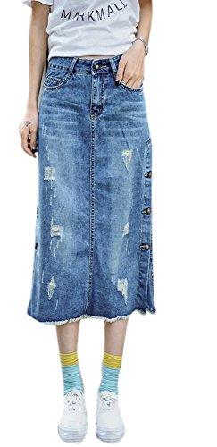 Enlishop Women's High Waist Pocket Side Bottom A Line Denim Skirts Dress Blue