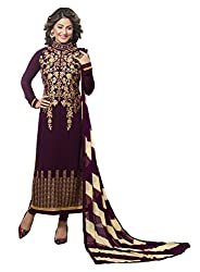 Khushali Presents Embroidered Georgette Dress Material (Wine)