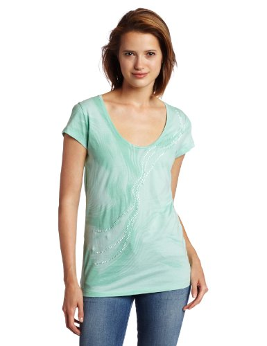 Calvin Klein Jeans Women's Marble Dance V-Neck Tee, Ocean Wave, X-Small