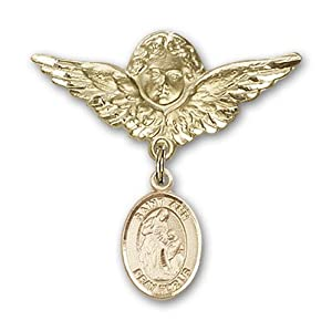 14K Gold Baby Badge with St. Ann Charm and Angel with Wings Badge Pin