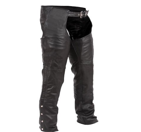 Australian Bikers Gear Premier Leather Classic Motorcycle Chaps (2XL) - 2XL