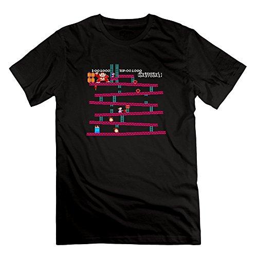Michaner Walosde Men's Donkey Kong Mario Series Atari Games Black T-shirts Large