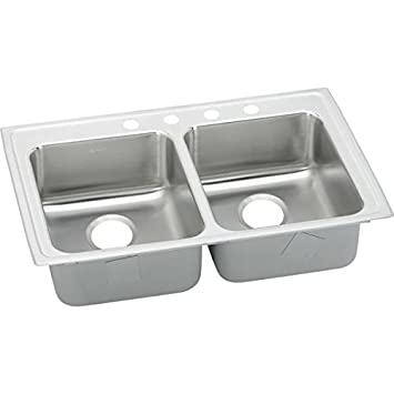 "Elkay LRAD3321502 18 Gauge Stainless Steel 33"" x 21.25"" x 5"" Double Bowl Top Mount Kitchen Sink with 2 Hole"