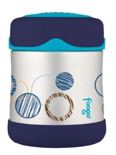 Thermos FOOGO Stainless Steel Food Jar, Blue Circles, 10 Ounce (Discontinued by Manufacturer)