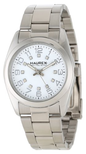 Haurex Italy Women's 2A388DWW Narciso Round Stainless Steel White Dial Swarovski Watch