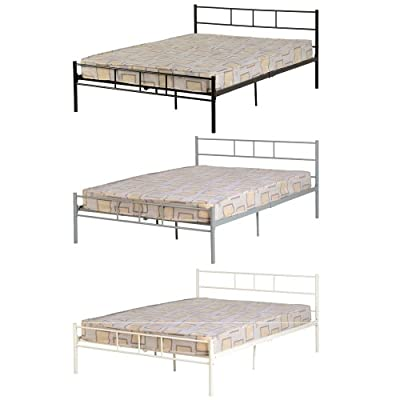 Seconique Devon Double Bed In Black, Silver, White